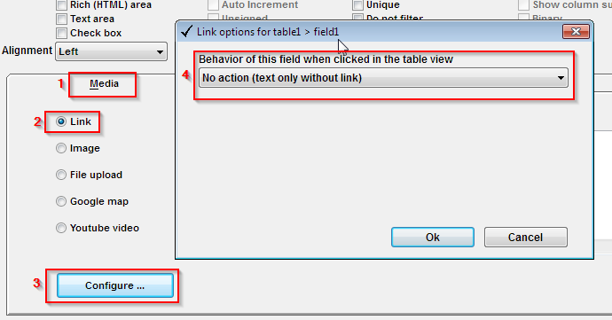 Configre the phone field to display as text-only (no link) in table view.
